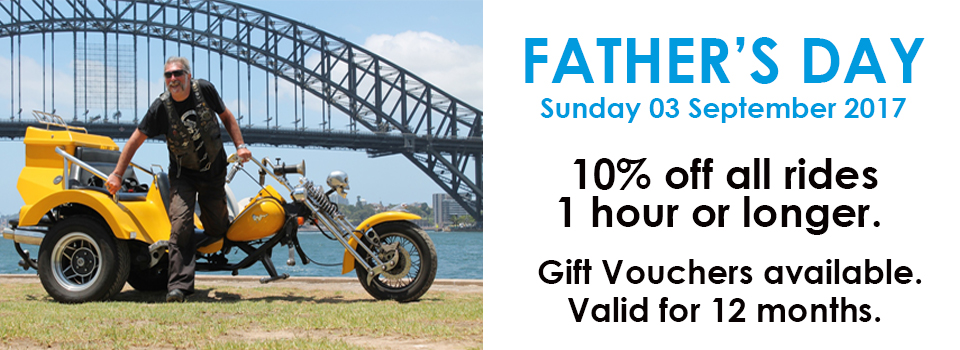 trike or Harley ride, Father's Day present Sydney