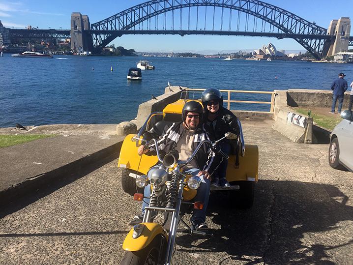 Harley trike tour wedding anniversary, Sydney