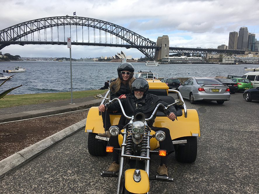 Harley trike tour 80th birthday in Sydney
