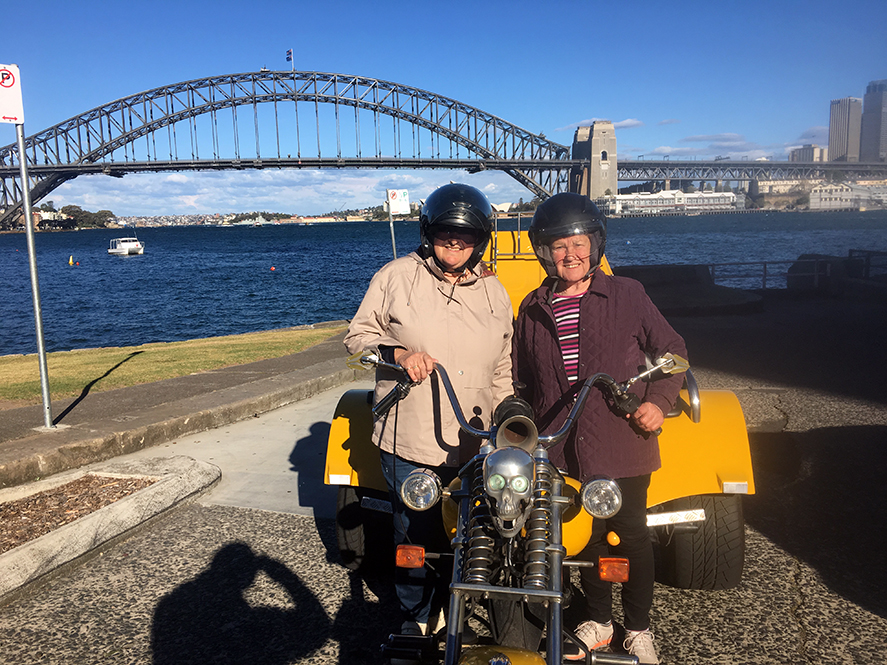 surprise 70th birthday Harley trike ride