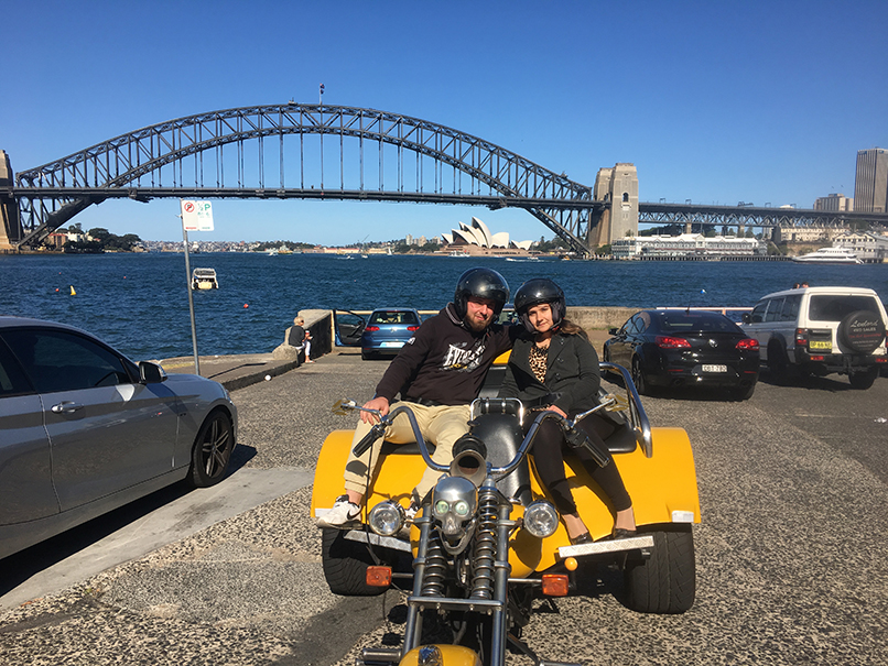 Harley trike tour over Sydney Harbour Bridge