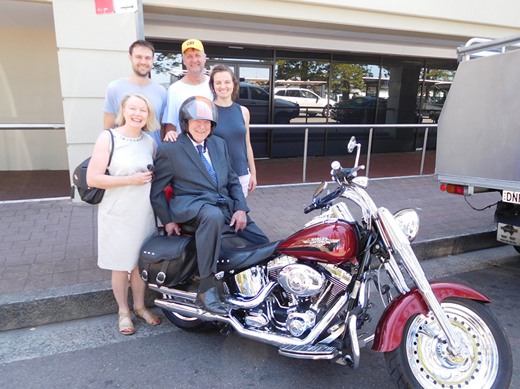 Harley ride Manly for 90th birthday