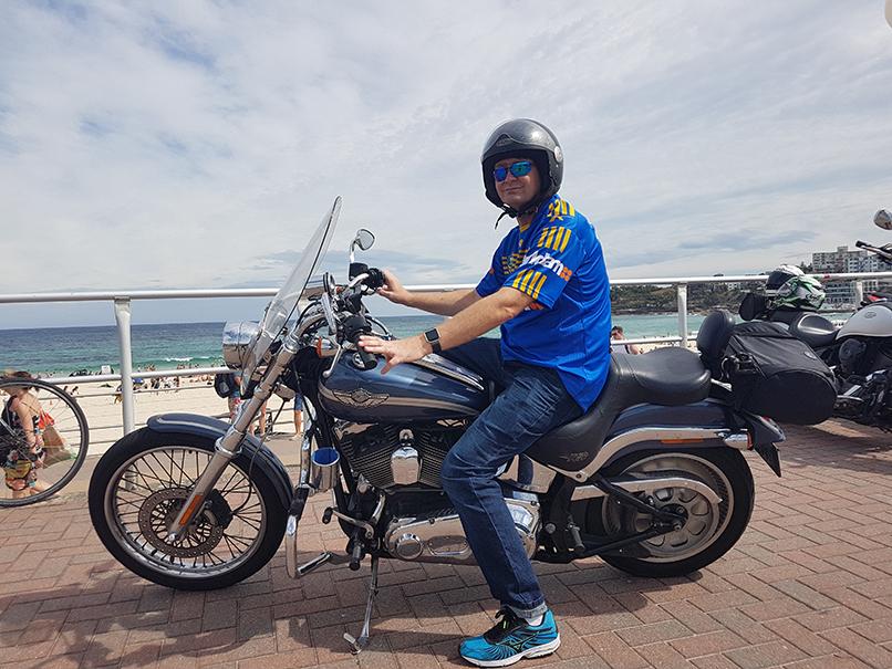 Harley ride past Bondi Beach