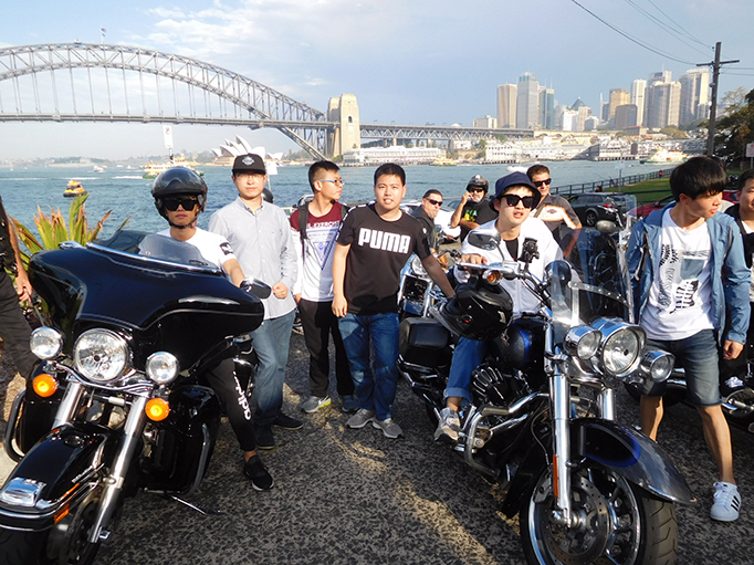 Harley ride Sydney Harbour Bridge