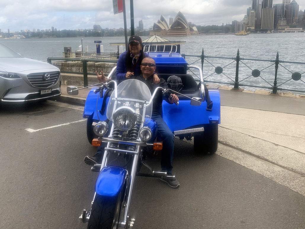 Harley fans trike tour