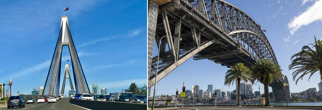 The ANZAC Bridge and Sydney Harbour Bridge