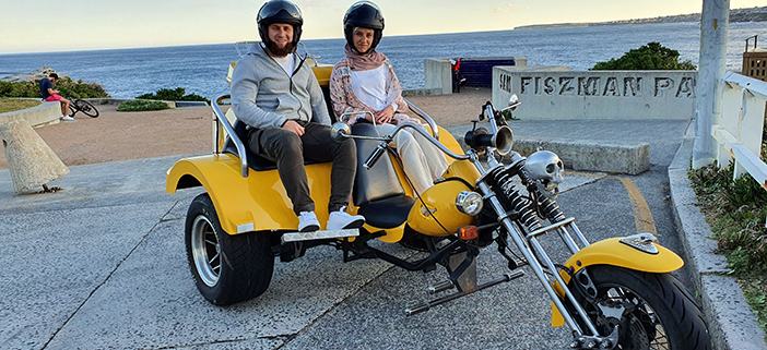 A surprise anniversary trike ride in Sydney. We also organised red roses.