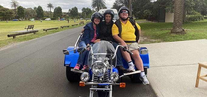 Mini trike rides around Centennial Park, Sydney.