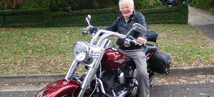A 92nd birthday Harley ride. Sydney Australia