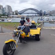 Passenger with cerebral palsy trike tour. Sydney Australia