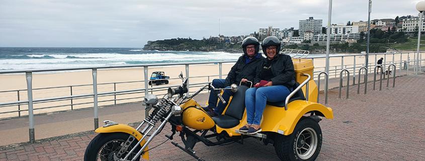 Harley trike tour present in Sydney, Australia. This photo was taken at Bondi Beach.