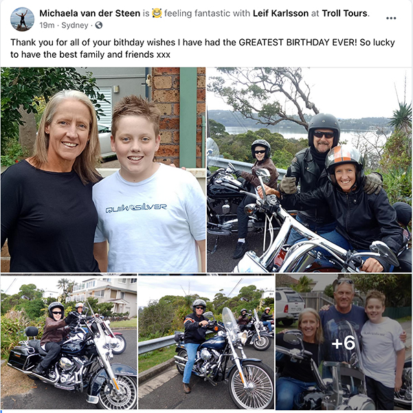 50th birthday Harley ride, North Beaches Sydney