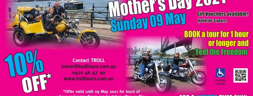 Celebrate with 10% off all our tours, 1 hour or longer. Mother's Day in Australia is on 09 May 2021 which is when the offer ends.