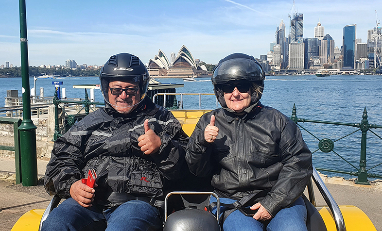 25th wedding anniversary and birthday combined trike tour. They did the 3 bridges tour. Sydney Australia