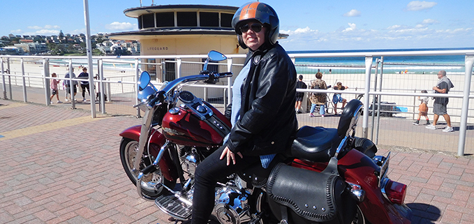 surprise present Harley tour, Bondi Beach.